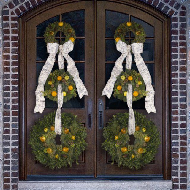 JELD-WEN Entry Door - Christmas Decoration - Wreath - Large Double Door